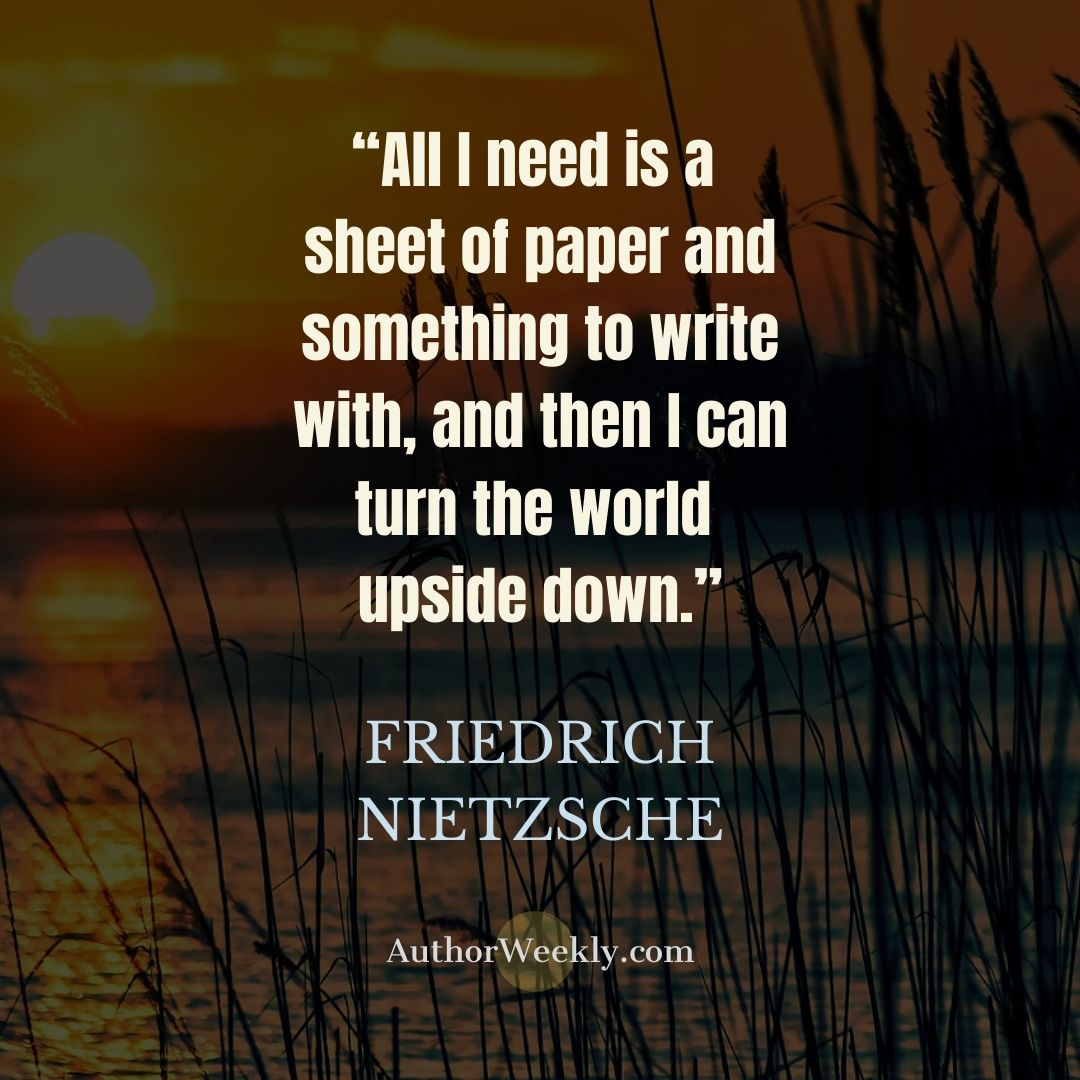 Friedrich Nietzsche Writing Quote Sheet of Paper