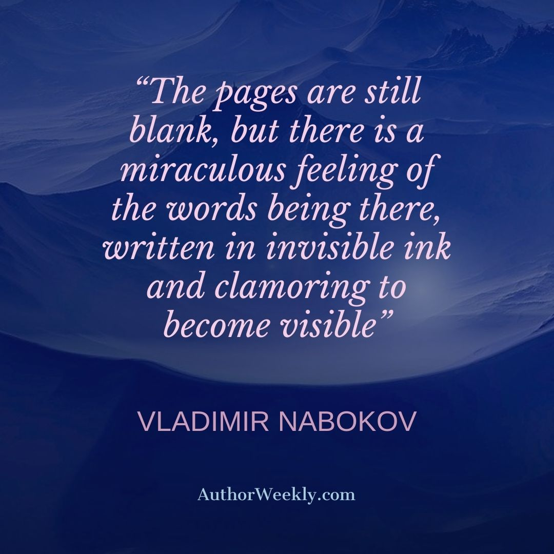 Vladimir Nabokov Writing Quote Pages are Still Blank